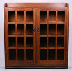Gustav Stickley two-door bookcase. Signed. Refinished.