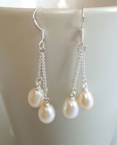 Bridal Pearl Earrings - 6-7 mm Pearl Dangle Earrings, Bridemaid earrings, fresh water pearl earrings $16