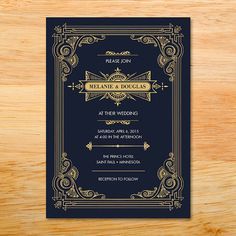 Wedding Invitation from the Gatsby Collection - Beautiful, ornate, art deco style of the 1920's era