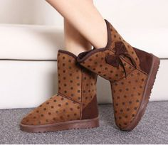 Beautiful Dot bow  Flat Boots Flat Boots from stylishplus.com
