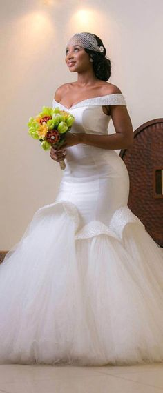 Fabulous Tulle & Satin Off-the-shoulder Neckline Mermaid Wedding Dresses With Beadings