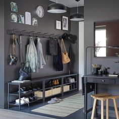 Looking for some great hallway ideas for your home's main thoroughfare? Coming home or going out, we've got all the hallway decoration and inspiration you want. Our IKEA rooms gallery include hallway storage solutions for small spaces and bigger ones. Entrada Ikea, Dark Grey Walls, Hall Furniture, Furniture Ideas, Hallway Storage, Closet Storage, Hall Storage Ideas, Entryway Bench, Mudroom Benches