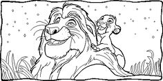 Simba And Musafa At Night coloring page from The Lion King category. Select from 25694 printable crafts of cartoons, nature, animals, Bible and many more.