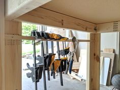Mobile Workbench with Table Saw Garage Workbench Plans, Router Table Plans, Table Saw Workbench, Portable Workbench, Workbench Designs, Mobile Workbench, Woodworking Bench Plans, Woodworking Workbench, Woodworking Projects Diy