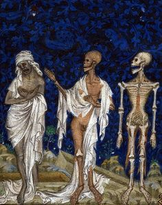 Two Fools and the Three Living and the Three Dead, Psalter of Bonne de Luxembourg  Datecirca 1349Source.    AuthorJean Le Noir