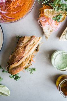 Halloumi Banh Mi Sandwich with Green Sauce — Gather a Table Wrap Recipes, Asian Recipes, Ethnic Recipes, Banh Mi Sandwich, Vegetarian Recipes, Healthy Recipes, Halloumi, Food Inspiration, A Table