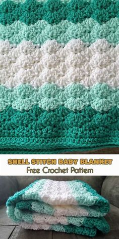 Shell Stitch Baby Blanket - Free Crochet Pattern I'm so eager to at long last be capable of offering this example with you! It's been a draft for a really long time. Crochet Afghans, Crochet Baby Blanket Free Pattern, Crochet For Beginners Blanket, Baby Afghans, Free Crochet, Baby Blankets, Crochet Blankets, Crochet Shell Blanket, Crochet Shell Pattern
