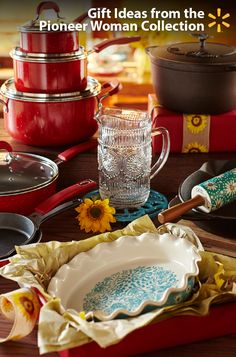 Gifts for the entertainers in your life! Give them something they'll smile about all year round: beautiful cookware & tableware from the Pioneer Woman collection. They'll love the unique touches like vintage speckle finishes on the non-stick pan set and embossed designs on the glassware. Fun florals brighten up your bakeware. Thoughtful features like helper handles and pour spouts will make the cast iron skillet an oven to table favorite. See the full line in-store and online, only at…