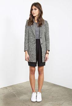 Two-Tone Bouclé Coat - Jackets & Coats - Coats - 2000082597 - Forever 21 EU English