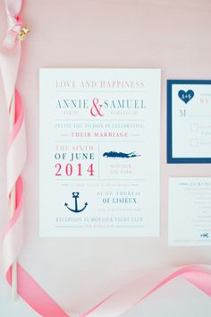 Nautical stationery: http://www.stylemepretty.com/2014/08/21/blush-and-gold-seaside-wedding-in-montauk/ | Photography: Brklyn View Photography - http://www.brklynview.com/