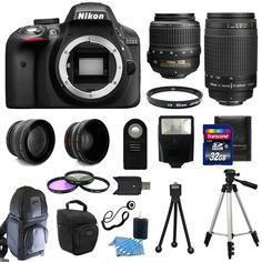 #ebay Nikon D3300 Digital SLR Camera + 4 Lens Kit: 18-55mm VR + 70-300 mm +32GB Kit - $579.95 (save 30%) #nikon #digital #cameras