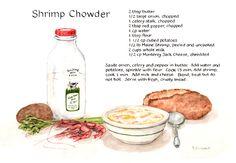"""Shrimp Chowder"" Recipe Painting by Brenda..."