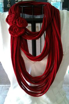 Upcycled RED tshirt infinity scarf with red flowers by ChikNic (www.etsy.com/chiknic)