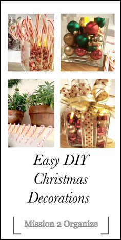 Easy DIY Christmas decoration projects Diy Christmas Decorations Easy, New Years Decorations, Christmas And New Year, Christmas Diy, Easy Diy, Jar, Organization, Holidays, Projects