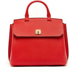 Mcm Milla Large Convertible Satchel (£885) ❤ liked on Polyvore featuring bags, handbags, ruby red, flap backpack, convertible backpack purse, top handle handbags, mcm backpack and mcm purse