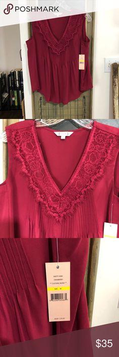 Nanette Lepore Cranberry **cultural blend** Beautiful lace detail. Nanette Lepore Tops