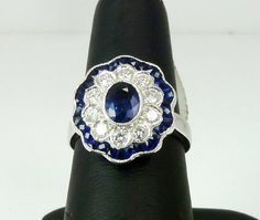 $2,549 Vintage, Ladies, Hand Made, Hand Engraved, 18k White Gold, Blue Sapphire, Diamond Right Hand Ring