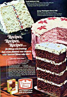 Chocolate Cream Torte Retro Recipes, Old Recipes, Vintage Recipes, Cupcakes, Cupcake Cakes, Vintage Food Posters, Vintage Ads, Retro Ads, Food Cakes