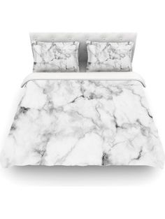 "KESS InHouse Kess Original ""White Marble"" Gray White Twin Cotton Duvet Cover, 68 by 88-Inch ❤ Kess InHouse"
