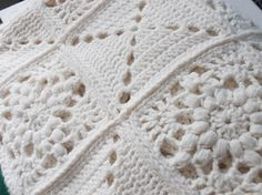 Handmade cream white granny square blanket, vintage afghan, throw, or single size bedspread. Beautiful solid color yarn, crochet blocks.