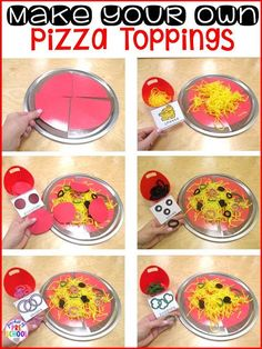 Pizza Restaurant Dramatic Play--How to make your own pizza props (toppings too) for preschool, pre-k, and kindergarten. Pizza Restaurant, Restaurant Themes, Pizzeria, Dramatic Play Themes, Dramatic Play Area, Dramatic Play Centers, Preschool Cooking, Preschool Activities, Preschool Learning