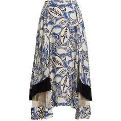 Toga Abstract floral-print panelled midi skirt ($745) ❤ liked on Polyvore featuring skirts, blue white, midi skirt, flower print skirt, print skirt, patterned skirts and calf length skirts