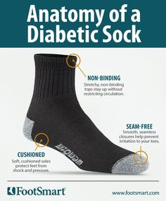 Anatomy of a Diabetic Sock: non-binding, cushioned and seam-free. If you have diabetes, the right socks can be one of your best protectors from painful foot problems, like those associated with diabetic neuropathy (nerve damage). Learn what to look for when you stock up on socks.