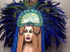 READY TO SHIP Royal blue bohemian Fairy Peacock Fantasy Woodland fairy nymph goddess headdress headpiece gaga steampunk burlesque costume