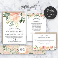 Printable fall wedding invitation set rustic floral wedding spring garden wedding invitation suite instant download editable pdf do it yourself solutioingenieria Image collections