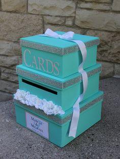 Custom Wedding Card Box 3 Tier Card Holder Square by aSignofJoy Box Birthday, Birthday Candy, Gift Card Boxes, Card Tags, Wedding Decorations, Wedding Ideas, Wedding Reception, Reception Card, Wedding Colors