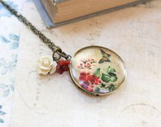 Flower Locket Necklace Rose Charm Long Necklace by apocketofposies, $34.00