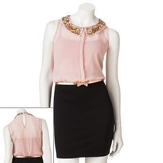 de4a5f98f528 Pink sheer and black dress Junior Dresses, Cute Dresses, Kohls, Body Con,