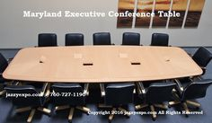 Maryland Executive Conference Table in Light Maple wood veneer. This conference table comes data port panels and electronics that are included in the price. See website for more details.