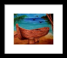Framed Art Print,  coastal,scene,boat,nautical,marine,piratic,tropical,sea,shore,beach,old,wooden,palmtrees,island,sandy,summer,multicolor,colorful,blue,beautiful,image,fine,oil,painting,contemporary,scenic,modern,virtual,deviant,wall,art,awesome,cool,artistic,artwork,for,sale,home,office,decor,decoration,decorative,items,ideas