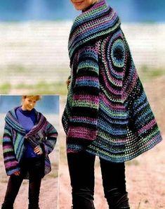 c39d760c5ad6 Crochet Sweater  Crochet Cardigan Circle Pattern Háčkované Svetre