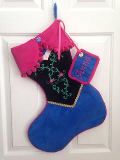 Disney& Frozen Anna stocking by LillyAnnesCloset on Etsy Disney Stockings, Disney Christmas Stockings, Frozen Christmas Tree, Christmas Tree Costume, Xmas Stockings, Felt Christmas, Christmas Balls, Disney Diy, Anna Disney