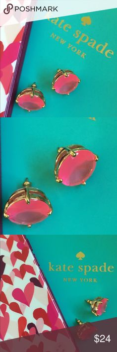 Kate Spade Barbie Pink Gum Drop Stud Earrings Small studs can make a big impact, especially when they're in such a beautiful, bright color! Authentic Kate Spade. Worn Once and cleaned in antiseptic. No earring card or dust bag included. kate spade Jewelry Earrings