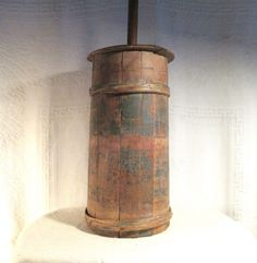 Early Primitive Staved Butter Churn w Interlaced Banding Blue Paint Sold Ebay 430.00