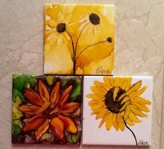 Alcohol ink sunflower coasters