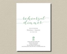 Printable Wedding Rehearsal Dinner Invitation - Pick your colours  (RD29) on Etsy, $18.00