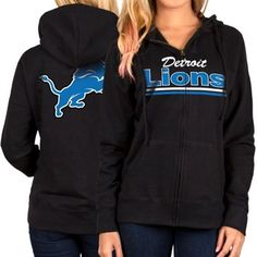 Detroit Lions Women's Black Full Zip Hoodie