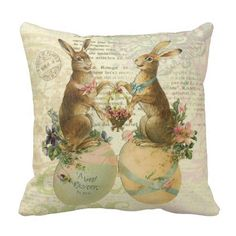 WEINIYA Bedroom Custom Decor Vintage French Easter Bunnies Pillow Cover Case Elegant Design One Side Printed Patterning Boudoir inches Happy Easter, Easter Bunny, Easter Eggs, Custom Pillows, Decorative Throw Pillows, Rabbit Colors, Spring Home Decor, Easter Crafts, Easter Decor