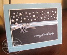 Cute idea even w/a hanging white paper snowflake - stars punches Homemade Christmas Cards, Stampin Up Christmas, Christmas Cards To Make, Christmas Star, Handmade Christmas, Holiday Cards, Christmas Crafts, Punch Art Cards, Star Cards