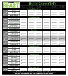 The new and improved Body Beast workout sheets track your progress for EVERY session of each workout on one page and allow you to see your progress horizontally week by week.
