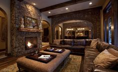 21 Amazing Rustic Living Design-The Rustic interior design is all about nature. Woods, Stones, wrought iron, natural fabrics and metals are used for the rustic designs.checkout our collection of 21 Amazing Rustic Living Design Ideas. Basement Living Rooms, Living Room Interior, Modern Basement, Basement Ideas, Rustic Basement, Rustic Room, Rustic Decor, Bedroom Rustic, Rustic Design