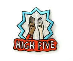 High Five Decorative Embroidered Sew or Iron-on Backing Patch