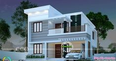 1145 sq-ft 3 bedroom modern house 3 bedroom 1445 square feet budget friendly Kerala home design by Dream Form from Kerala. 2 Storey House Design, Duplex House Plans, Bungalow House Design, House Front Design, Flat Roof House, Indian House Plans, House Design Pictures, Beautiful House Plans, Model House Plan