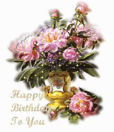 Mensagens com Flores Animadas - Happy Birthday - ツ Imagens, Animações e Mensagens de Feliz Aniversário ツ