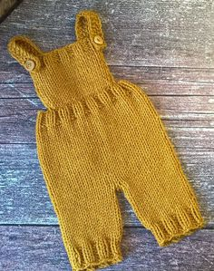 Knitting Pattern for Mustard Baby Romper - Romper with bib and pants is great for newborn baby photos.