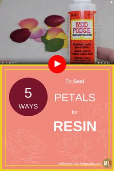 5 ways to seal your flowers and petals ready for embedding in resin. Mod Podge and Resin Spray are two of my favourite ways to seal them. #sealingflowers #diyresin #MillLaneStudio #modpodge #resinspray #sealingpetals Resin Spray, Uv Resin, Resin Art, Wood Resin, Resin Flowers, Beaded Flowers, Dried Flowers, Diy Home Decor Projects, Projects To Try